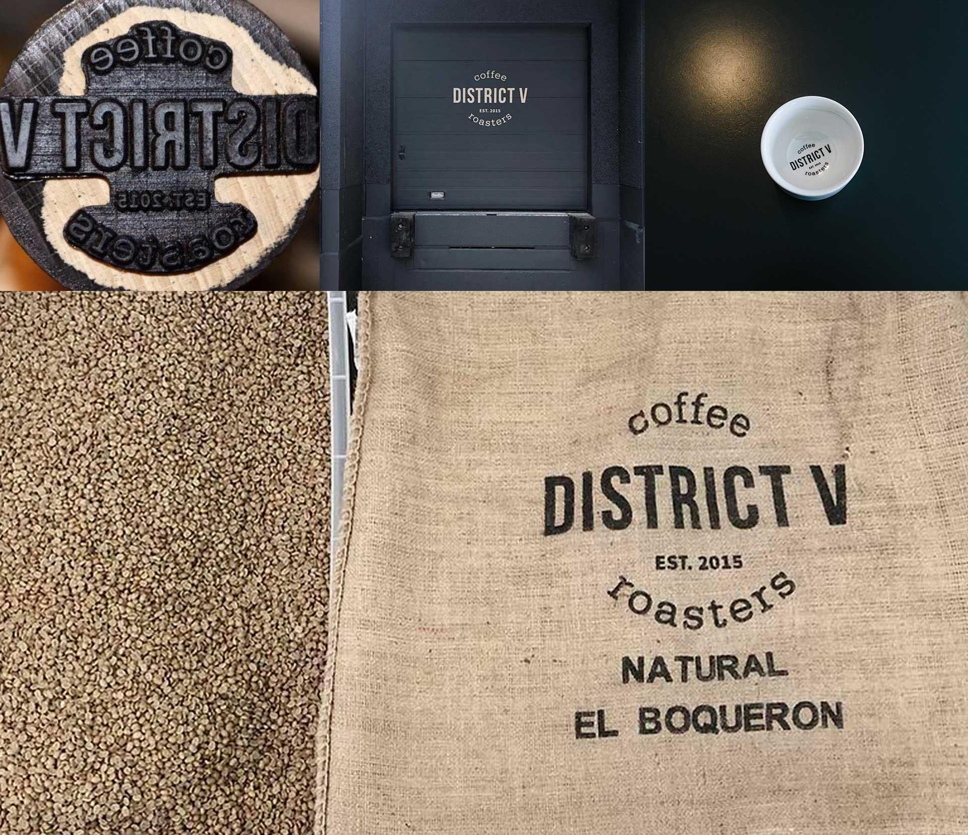 tide stories design agentur ingolstadt district five coffee roaster logo auf tor und kaffeesack